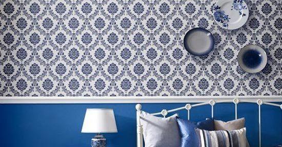 Behang Slaapkamer Blauw.Damask Behang Behang Wandbekleding Interieur