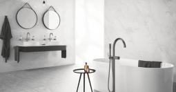 Minimalistisch interieur regendouche: inrichting badkamer de